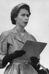 The Queen speaking in Victoria on her visit in 1954.