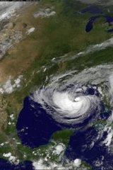 Tropical Storm Isaac as seen from a NASA satellite as it approaches landfall.