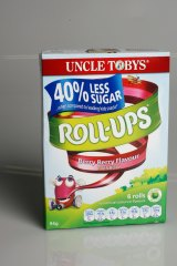 """Uncle Tobys Roll Ups, which proclaims among its """"nutritional benefits"""" that it is """"made with real fruit"""", only contained only 25 per cent fruit."""