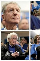 Words on wisdom: Liberal followers listen to Tony Abbott at the Ringwood campaign office.