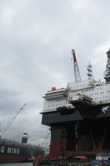 The 67,000 tonne oil rig Ocean Great White nears completion in Ulsan, South Korea.