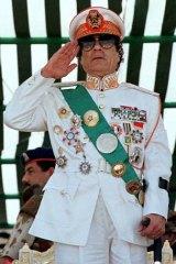 Muammar Gaddafi in full uniform.