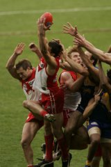That famous Leo Barry mark which saved the 2005 AFL Grand Final for the Sydney Swans.