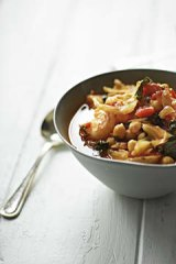 Prawn, chickpea and fennel soup.