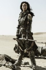 Megan Gale as the Valkyrie in <i>Mad Max: Fury Road</i>.