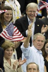 Mr Rudd and the US president George Bush at the Beijing Games.