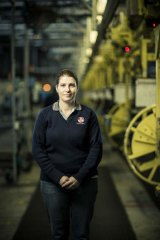 On the line … assembly-line worker Lucinda Gregory at Holden's Elizabeth plant in Adelaide's far north.