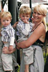 Cassie with her sons Sam, 5, and Adam, 3.