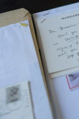 A note from Margaret Atwood among items from Germaine Greer's archive.