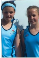 Crookwell's Kellie White and Emily Smith, before they became Hockeyoos representatives.