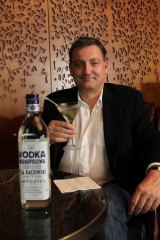 Unearthed ... the managing director of Upsynth, Peter Eriksen, with a Monopolowa vodka martini.