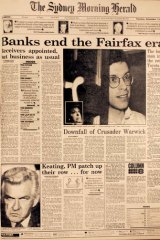 The front page of Tuesday 11th December 1990 detailing the appointment of receivers to Fairfax and the downfall of Warwick Fairfax.