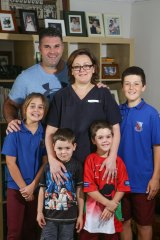 Narraweena midwife Nicky Richards with husband Adam and their four children, Hugo, 4, Lucas, 6, Sophie, 9, and Roman, 12. With childcare costs of $170,000 a year, they  could benefit under the new government-subsidised nanny scheme.