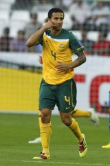 Only a phone call away ... Australia's Tim Cahill after scoring against India during their 2011 Asian Cup Group C soccer match at Al Sadd stadium on January 10.
