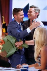 Former co-host Dave Hughes congratulates Pickering on his final episode.