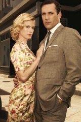 January Jones as Betty Draper and Jon Hamm as Don Draper.