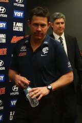 Brett Ratten arrives for a press conference to announce his sacking.