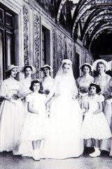 Gam (back row, third from left) at the wedding of Kelly and Prince Rainer of Monaco in 1956.