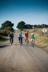 Flat and safe: Family cycling on French Island.