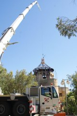 Repairs being carried out to Adventure World's iconic castle lookout.
