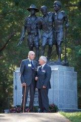 Veterans John Akhurst and Jack Wilmott at the unveiling of the Kokoda Memorial Wall in the Dandenongs on Sunday.