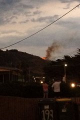 The fire near the Great Ocean Road, as seen from Apollo Bay.