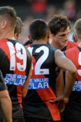 Bombers coach James Hird talks to his players.