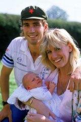 Love match … Pat Cash with Anne-Britt Kristiansen and their son Daniel in 1986.