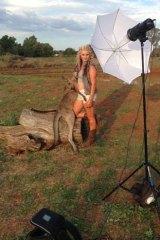 The kill: Katrina Byrnes poses with a dead kangaroo.
