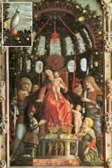 Andrea Mantegna's 1496 painting, Madonna della Vittoria, and, inset, the sulphur-crested cockatoo.