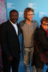 Members of the Sydney Film Festival jury including (from left) Mahamat-Saleh Haroun, Amiel Courtin-Wilson, Rachel Ward and Boyd Van Hoeij (with at right, the festival director, Nashen Moodley).