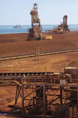 Big business … at Cape Lambert Port in the Pilbara, conveyor belts carry the ore to stockpiles in preparation for loading onto ships.