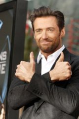 Thumbs up... Hugh Jackman at the X-Men Origins: Wolverine at LA's Chinese Theater on April 28.