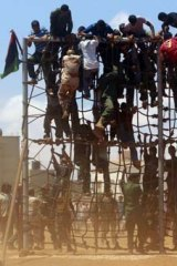 Boot camp ... recruits of the Libyan rebel forces training in Benghazi this week.