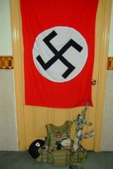 A swastika flag in Stewart's room.