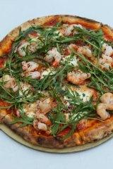 """Pizza """"Farnese"""" - mozzarella garlic, prawns and chilli from Pizzeria Bellucci."""