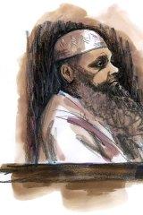 Convicted terrorist organiser Abdul Nacer Benbrika inside the Supreme Court yesterday. Illustration: Anne Spudvilas