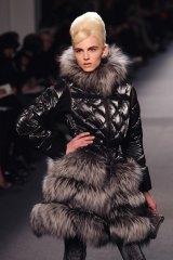 Andrej Pejic modelling Jean Paul Gaultier in Paris last month.