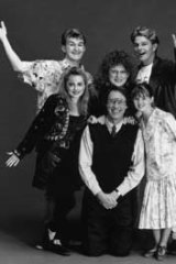Serious allegations...the cast of the sitcom Hey Dad!, including Robert Hughes, wearing a tie, and Sarah Monaghan, right.