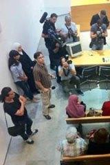 Rachel Corrie's family wait for the verdict in the  Haifa District Court.