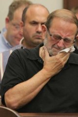 Jack Kern, father of victim Timothy Kern, reacts after a jury reached a guilty verdict in the trial of Brogan Rafferty.