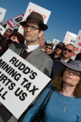 Protesters rally against the Rudd government's proposed mining tax in 2010.