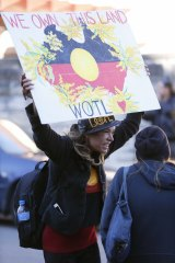 Protesters outside this week's meeting between Prime Minister Tony Abbott and Indigenous leaders.