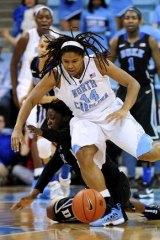 Making the transition: Washington Mystics rookie Tierra Ruffin-Pratt playing for North Carolina in February.