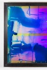Dale Frank History For Lease 2, 2014 varnish, oil, lighter fluid on iridescent plexiglass