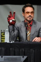 Robert Downer Jnr with his Iron Man hand.