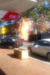 Column of flames: a gas main has exploded in Lane Cove.
