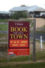 A sign at the entrance to Clunes advertising its big event.