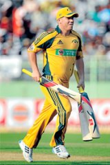 David Warner is looking for time at the crease in today's Twenty20 game.