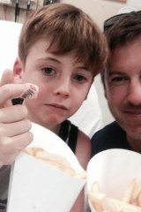 Felix Carter, with his father Liam, from Watheroo.